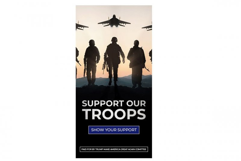 Trump ad asks people to support the troops. But it uses a picture of Russian jets.