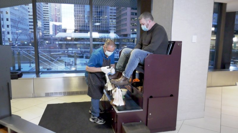 'Pat's the most important guy downtown': Loyal customers rally to support Calgary shoeshine stand operator