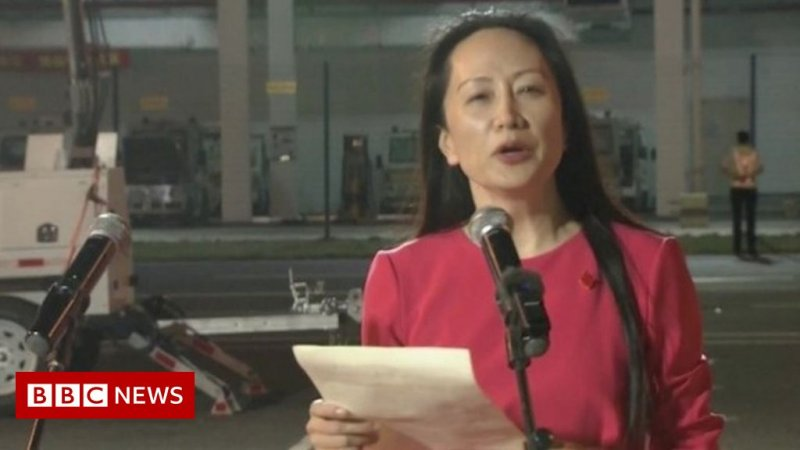Huawei executive Meng Wanzhou freed by Canada arrives home in China - BBC News