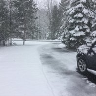 It's snowing in Northern Michigan and a large swath of the US