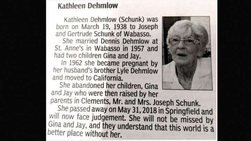 Woman's obituary takes a dark turn: 'World is a better place without her'