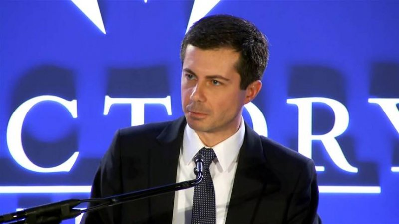 Pete Buttigieg calls out Mike Pence during his speech at the LGBTQ Victory Fund Brunch