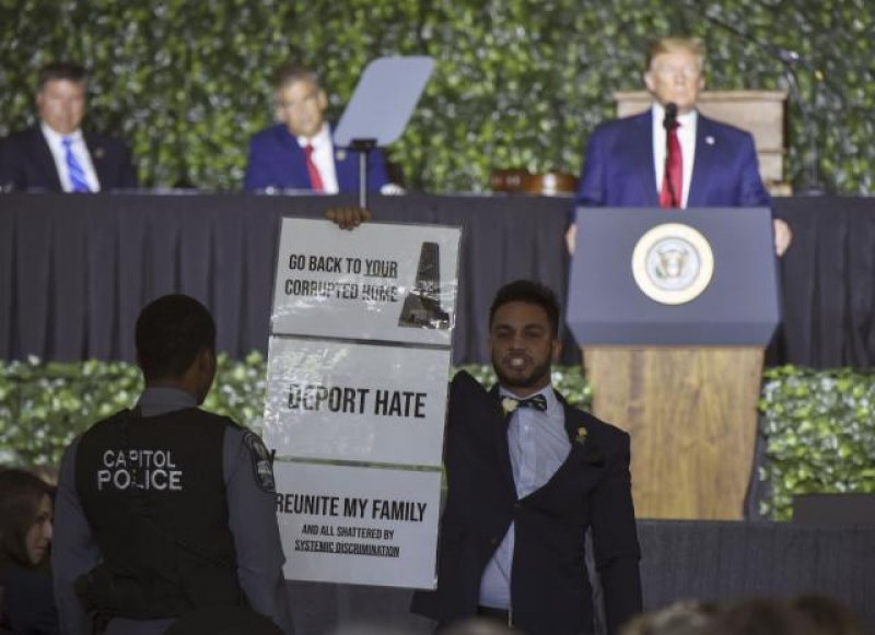 'Send him back': Angry reactions to Trump at Virginia event honoring foundations of democracy