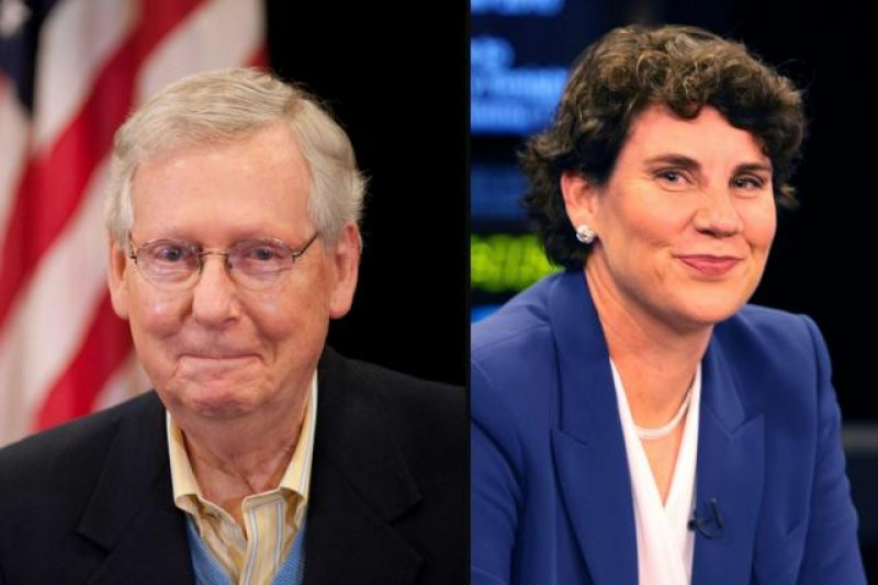 Amy McGrath calls out Sen. Mitch McConnell for posting a photo of her name on a tombstone