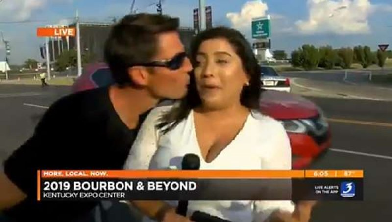 A female reporter kissed on live TV says: 'This is not OK'