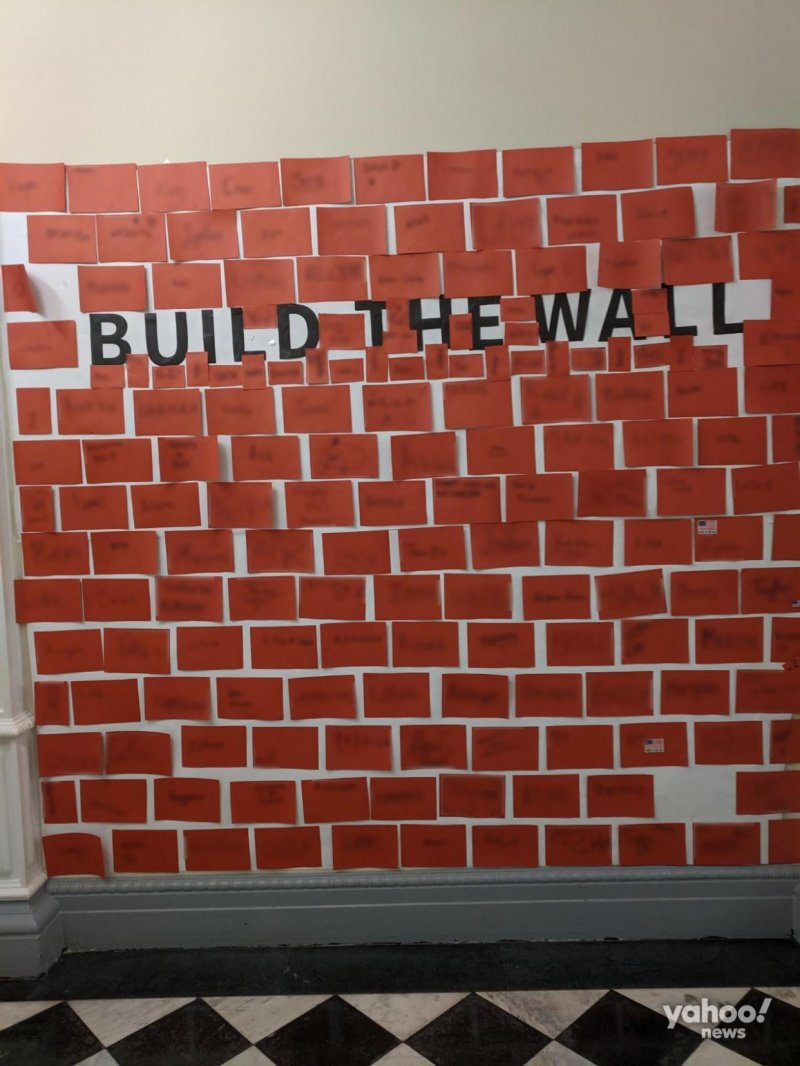 Children were told to 'build the wall' at White House Halloween party