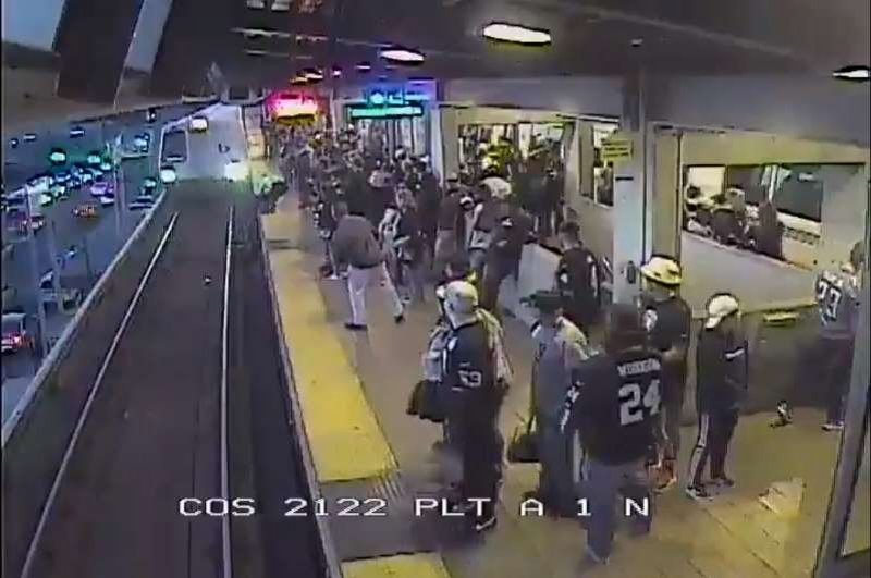 Dramatic video shows California transit worker saving man from oncoming train