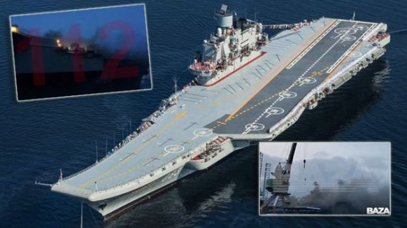 """Fire Breaks Out On Russian """"Admiral Kuznetsov"""" Aircraft Carrier at the Barents Sea port of Murmansk."""