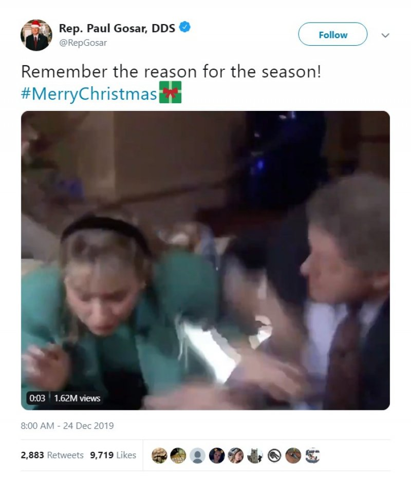 Republican Congressman spends Christmas gleefully remembering Hillary Clinton nearly being hit by falling light