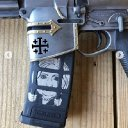 Don Jr posted photos of himself brandishing a modified assault rifle with CRUSADER etched on it -  Crusader imagery on weapons & propaganda has been used by Far-Right terrorists since Brevik