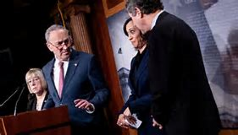 Chuck Schumer scolds Kamala Harris for laughing with Sherrod Brown at impeachment presser, goes viral