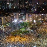 Thousands of Israelis protest against Netanyahu, two meters apart
