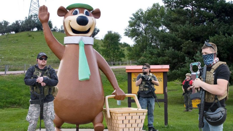 Heavily Armed Fans Guard Statue Of Yogi Bear In Case It Turns Out He Supported Confederacy