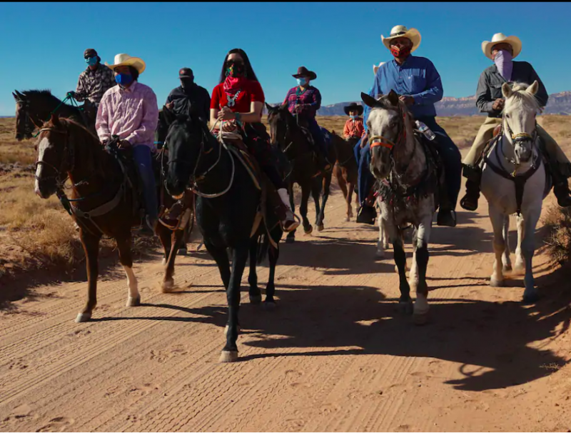 Getting to the polls can be hard in Navajo Nation. This woman is leading voters on horseback.