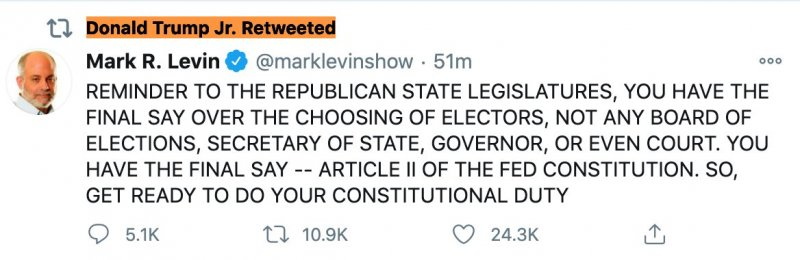 Right Wing Media Star Urges Republican State Legislatures To Subvert Democracy - Trump Family Member concurs