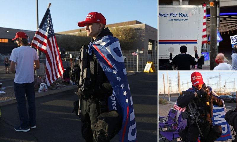 Trump fans holding rifles protest outside election center