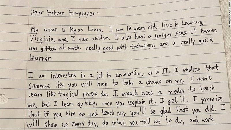 A man with autism writes LinkedIn cover letter asking future employers to 'take a chance on me' - CNN