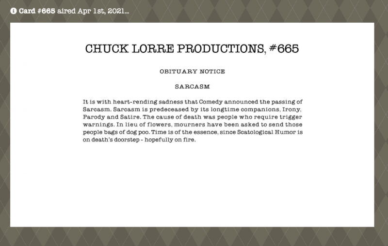 Chuck Lorre Productions - Vanity Cards Topic: Sarcasm