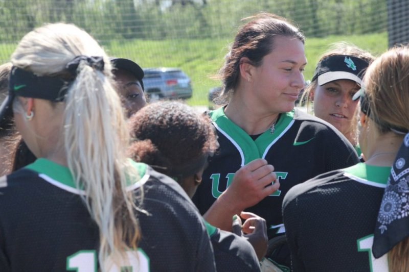 North Texas pitcher Hope Trautwein strikes out every batter she faces in seven innings of a win over Arkansas State Pine Bluff.