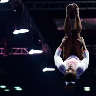 Simone Biles lands Yurchenko double pike vault
