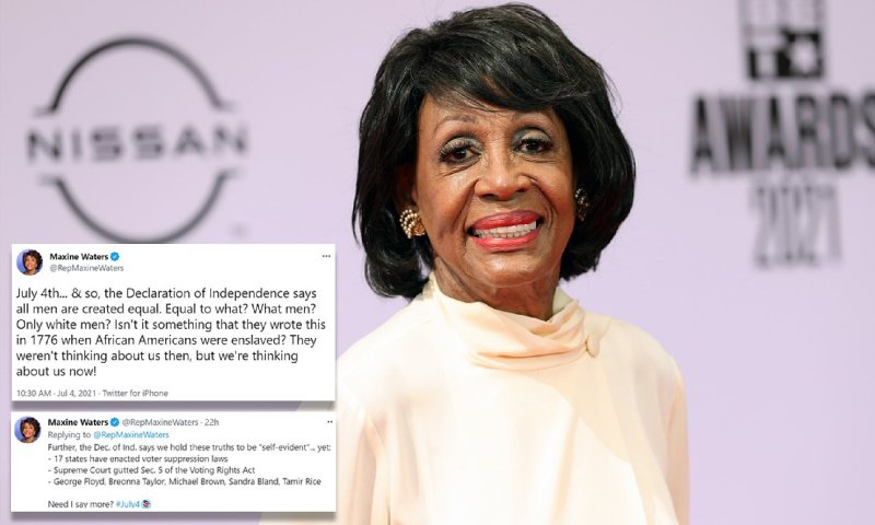 Rep Waters rants Declaration of Independence only applies to WHITE MEN