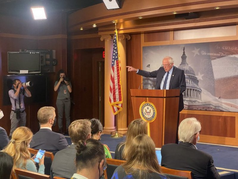 """Bernie Sanders Asks Joe Manchin to say what an """"entitlement society"""" is"""