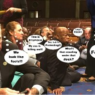 Democrats protesting on House Floor