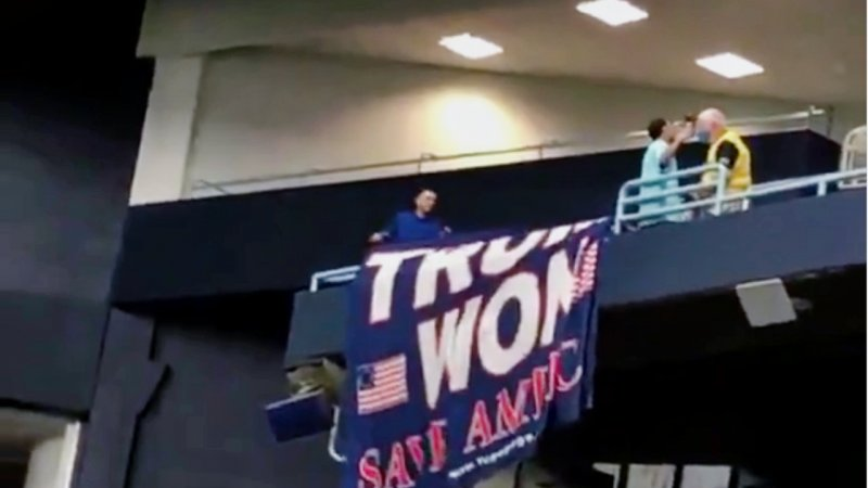 Security RIPS 'Trump Won' Flag Down at MLB Rays Game